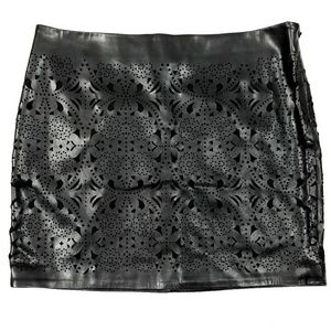 Black Laser Cut Floral Mini Skirt